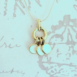 Cream and Gold Vintage Circle Necklace